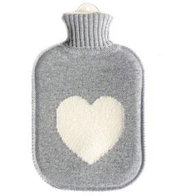 Große Kaschmir Wärmflasche HEART • grau