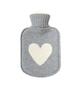 Kaschmir Wärmflasche HEART • grau