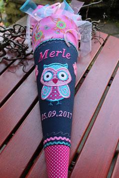"Schultüte ""Eule 1"" dunkelblau-pink"