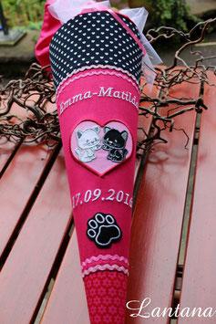 """Schultüte """"zwei Katzen"""" pink-schwarz"""
