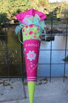 """Schultüte """" Blume mit Ranke 2"""" pink-grün"""