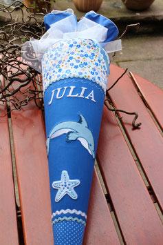 """Schultüte """" Delfin 2 """" blau-weiss"""