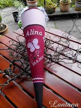 """Schultüte """"Schmetterling 4 mit Ranke """" weinrot-braun-rosa"""