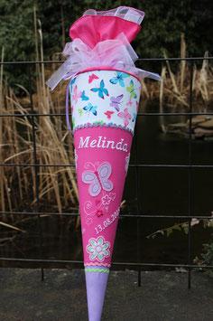 """Schultüte """"Schmetterling 5 mit Ranke """" flieder-pink-weiss"""