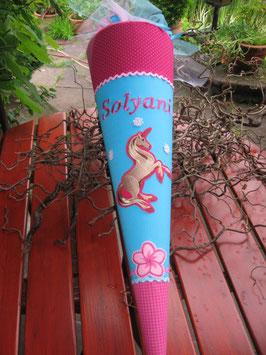 """Schultüte """"Magic Unicorn 1"""" türkis-pink, Ersatzstoff oben"""