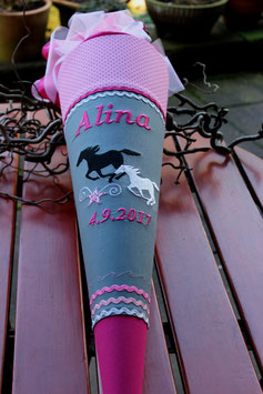 "Schultüte ""Pferdeliebe"" grau-pink"