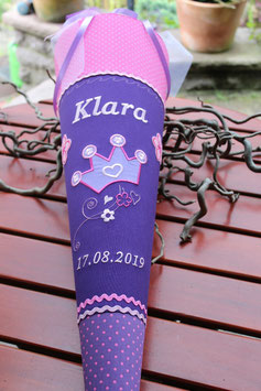"""Schultüte """"Krone 1"""" lila-pink"""