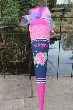 """Schultüte """" Pretty Rose"""" dunkelblau-pink"""
