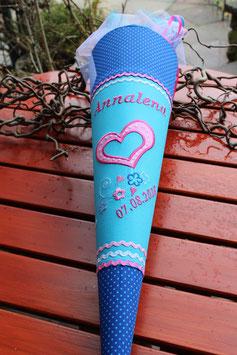"""Schultüte """"Herzchen 2""""  türkis-blau-pink"""
