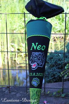 """Schultüte """"Panther 2"""" schwarz-dunkelgrün-neongrün"""