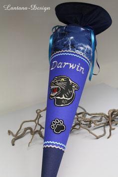 """Schultüte """"Panther 1"""" kobaltblau-Gewitterstoff"""