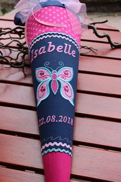 """Schultüte """"Großer Schmetterling """" dunkelblau-pink"""