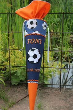 "Schultüte ""Großer Ball 2"" dunkelblau-orange"