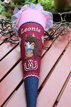 "Schultüte ""Champion 2"" dunkelrot-rosa-jeans"