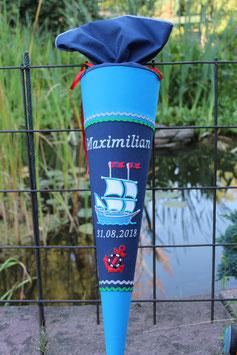 """Schultüte """"Piratenschiff 2"""" blau-dunkelblau"""