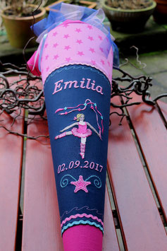 "Schultüte ""Ballerina 4"" dunkelblau-rosa, pinke Sterne"