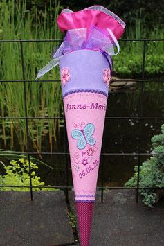 """Schultüte """"Schmetterling 19"""" mit Ranke, rosa, flieder, pink"""
