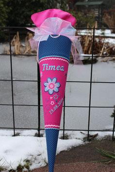 """Schultüte """" Blume mit Ranke 4"""" pink-blau"""
