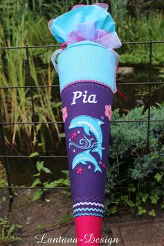 """Schultüte  """"zwei Delfine"""" lila-helltürkis-pink mit Blumen"""