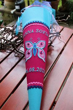 "Schultüte ""Großer Schmetterling "" pink -türkis-rosa"