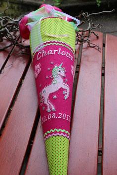 """Schultüte """"Süßer Einhorn 5"""" pink-grün"""