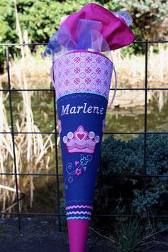 """Schultüte """"Krone 2"""" dunkelblau-pink, Ersatzstoff oben"""