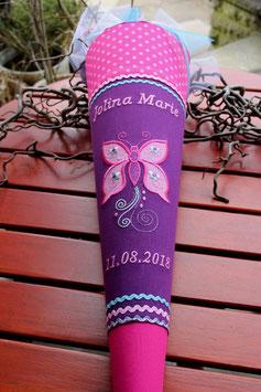"""Schultüte """"Großer Schmetterling mit Ranken"""" pink-türkis-purple/lila"""