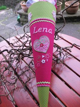 """Schultüte """"Herzchen 1"""" pink-grün"""