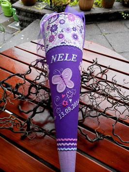 """Schultüte """"Schmetterling 8 mit Ranke""""  lila-weiss-rosa"""