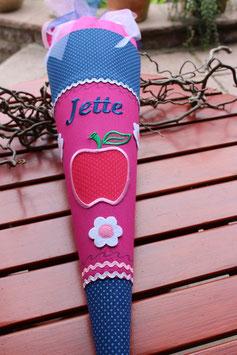 "Schultüte "" Apfel "" blau-pink"