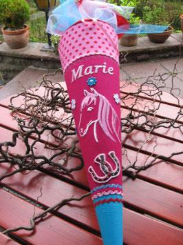 """Schultüte """"Pferdchen 2"""" pink-rot"""