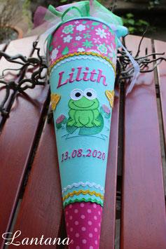 """Schultüte """" Froschkönig"""" mint-pink"""