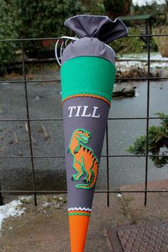 """Schultüte """"Dinosaurier 3"""" dunkelgrau-grün-orange"""