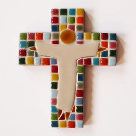 Croix mosaïque arc-en-ciel