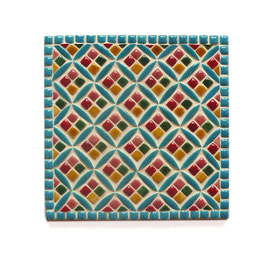 Dessous de plat Jacquard multicolore, dimensions 18 cm.
