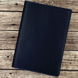 Notizbuchhülle aus schwarzem Leder, naturbelassen, für A4