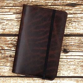 Lederhülle für Moleskine® Pocket in Dunkelbraun