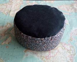 Zafú-Cojín para meditación, negro con gravilla