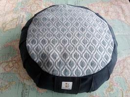 Zafú-Cojín para meditación, negro y chenilla gris