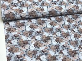 Baumwollstoffblau braun weiß B10052