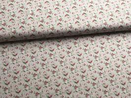 Baumwollstoff Blumen pink beige B10063