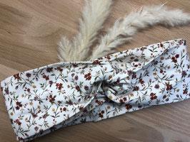 Blumen Jersey-Stirnband Turban-Optik weiß-rot-grün