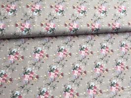 Baumwollstoff Blumen rosa beige B10062