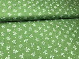 Baumwollstoff grasgrün bedruckt B10012