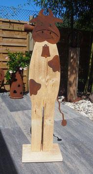 Kuh, Metall- Holz- Skulptur. 1,25 Meter