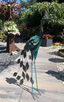 Pfau, Vogelskulptur, Gartenskulptur in Bronze- Kupfer- Design