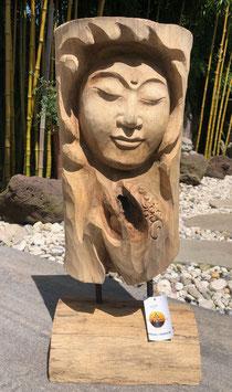 Buddha, Kopf, Büste, Skulptur aus Holz. Absolutes Unikat der Extraklasse.In und Outdoor.