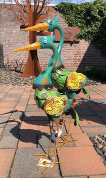 Zwei Vogelskulpturen, Kraniche, Gartenskulpturen aus Metall