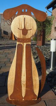 Hund, Skulptur aus Metall und Holz in Edelrost. Haus- und- Gartendekoration