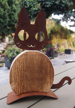 Katze, Skulptur in Edelrost und Holz
